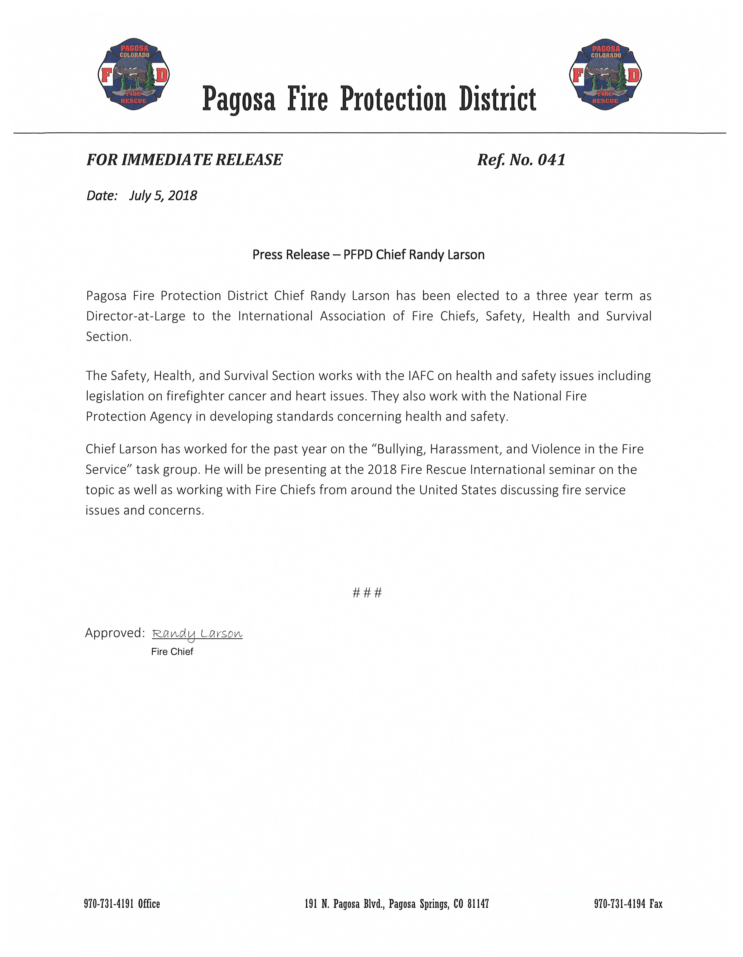 Press Release 041